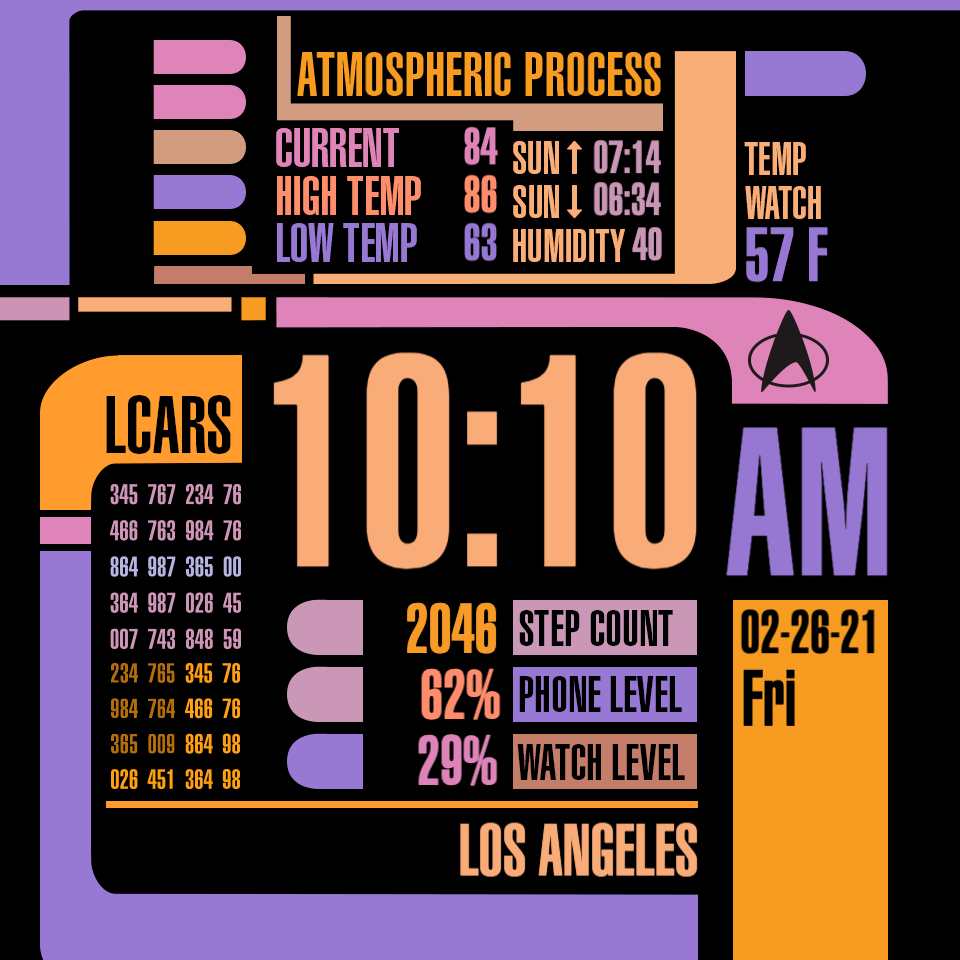 Lcars Official Star Trek Facer The World S Largest Watch Face Platform