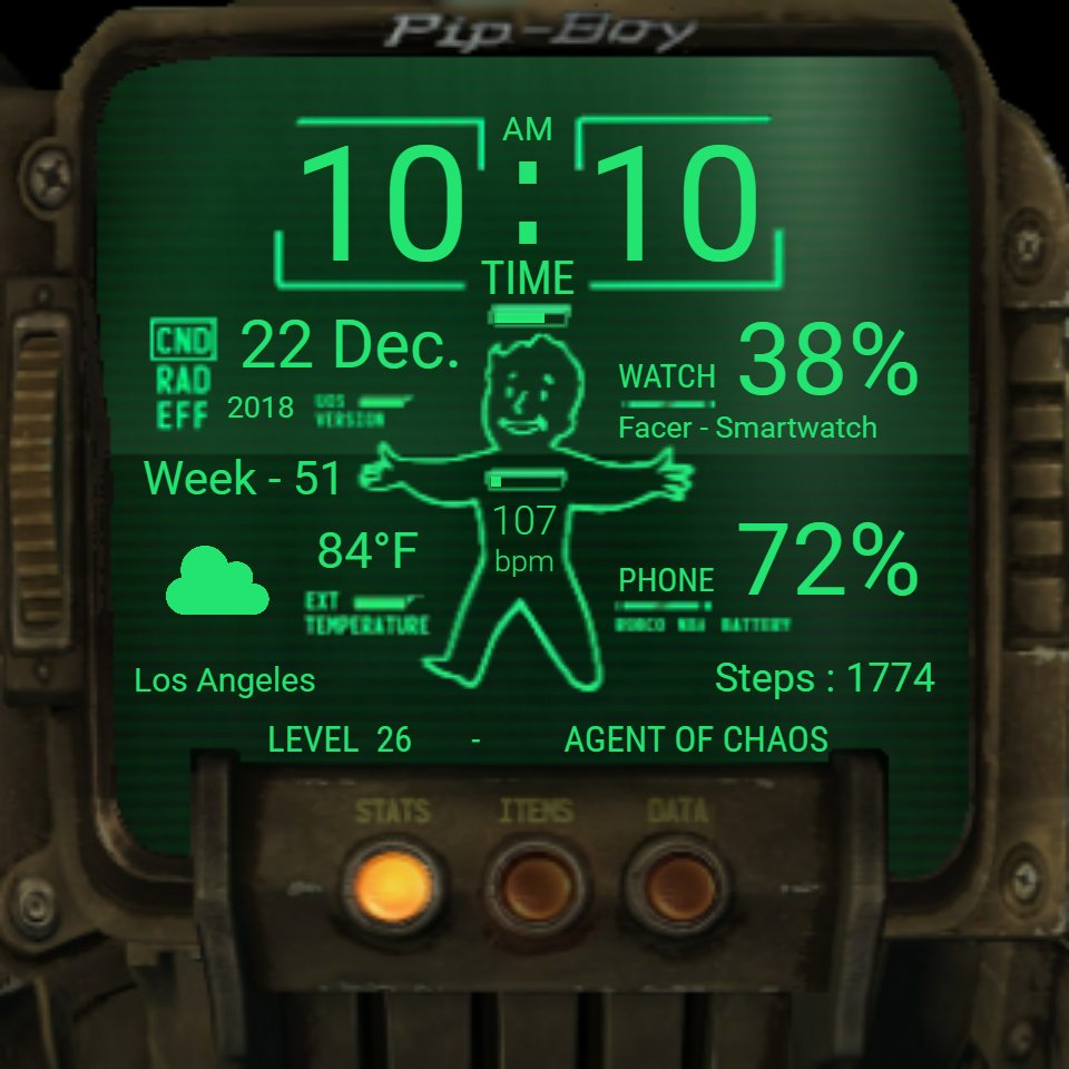 Pip-Boy - configurable v1 7 • Facer: the world's largest watch face